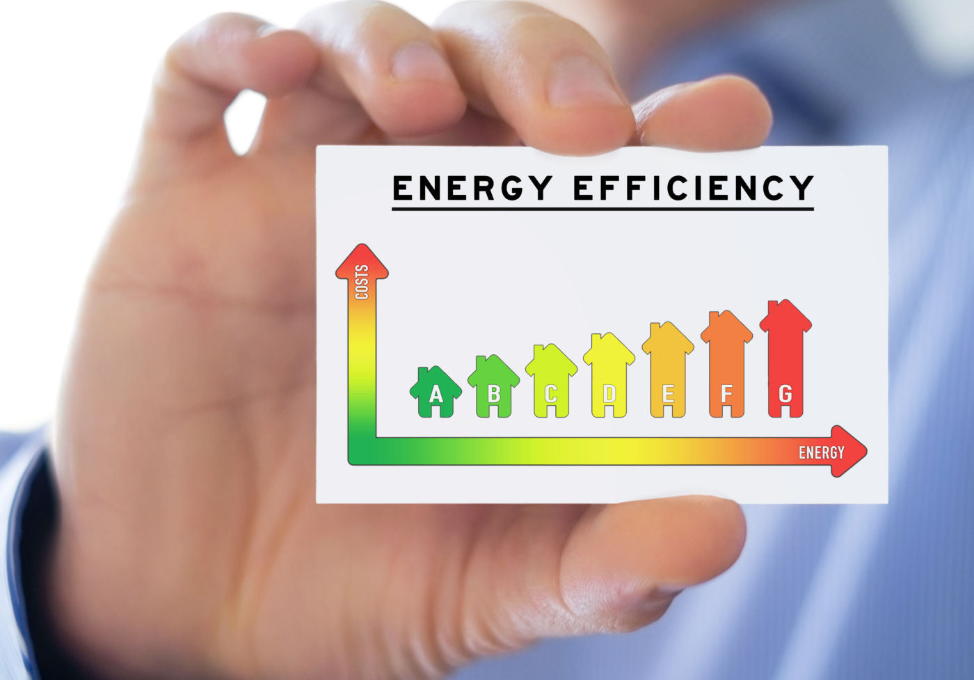Hand holding card with energy efficiency chart.